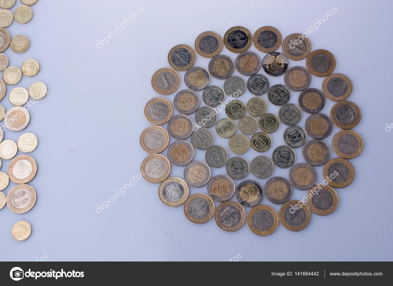 Türkische Lira Münzen Prägen Eine Runde Kreis Form Stockfoto