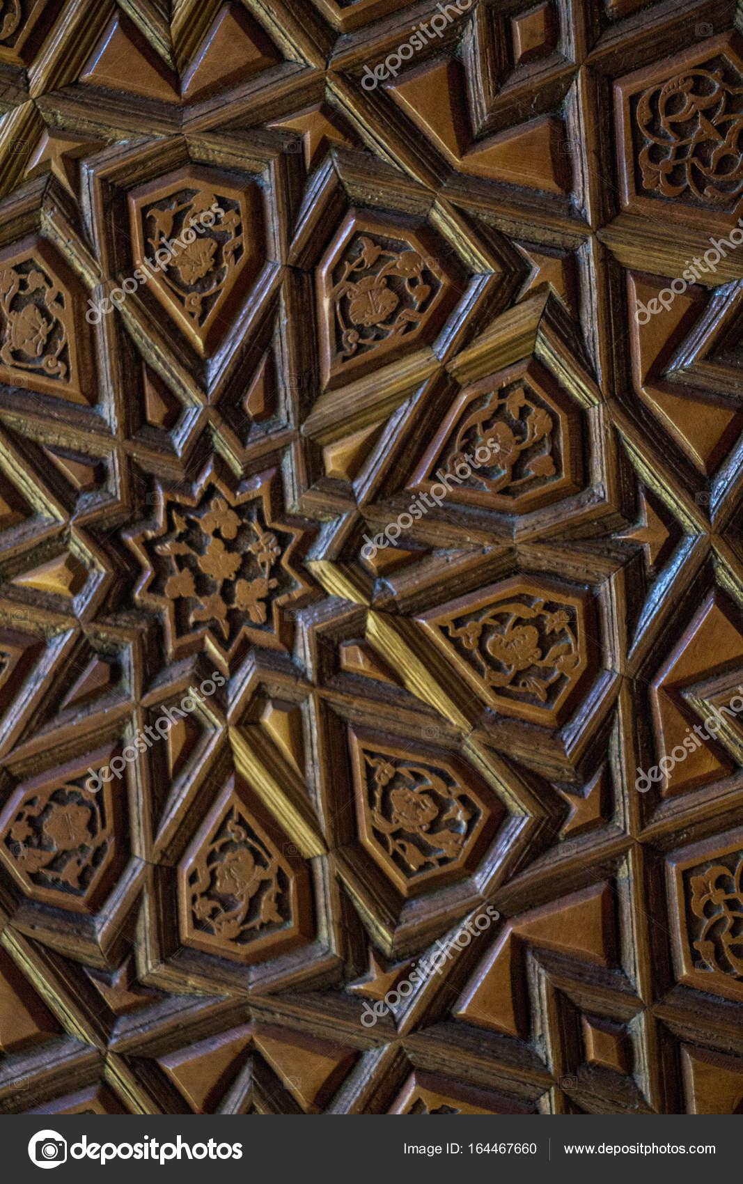 Osmanischen Turkisch Kunst Mit Geometrischen Mustern Auf Holz