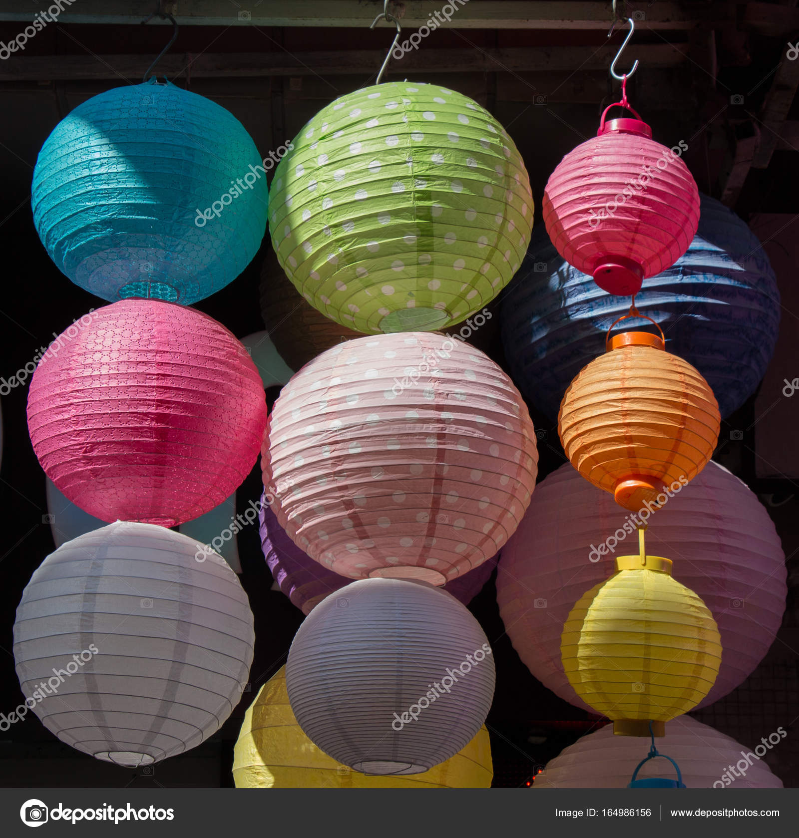 colorful paper lantern outdoor in a marketplace stock photo