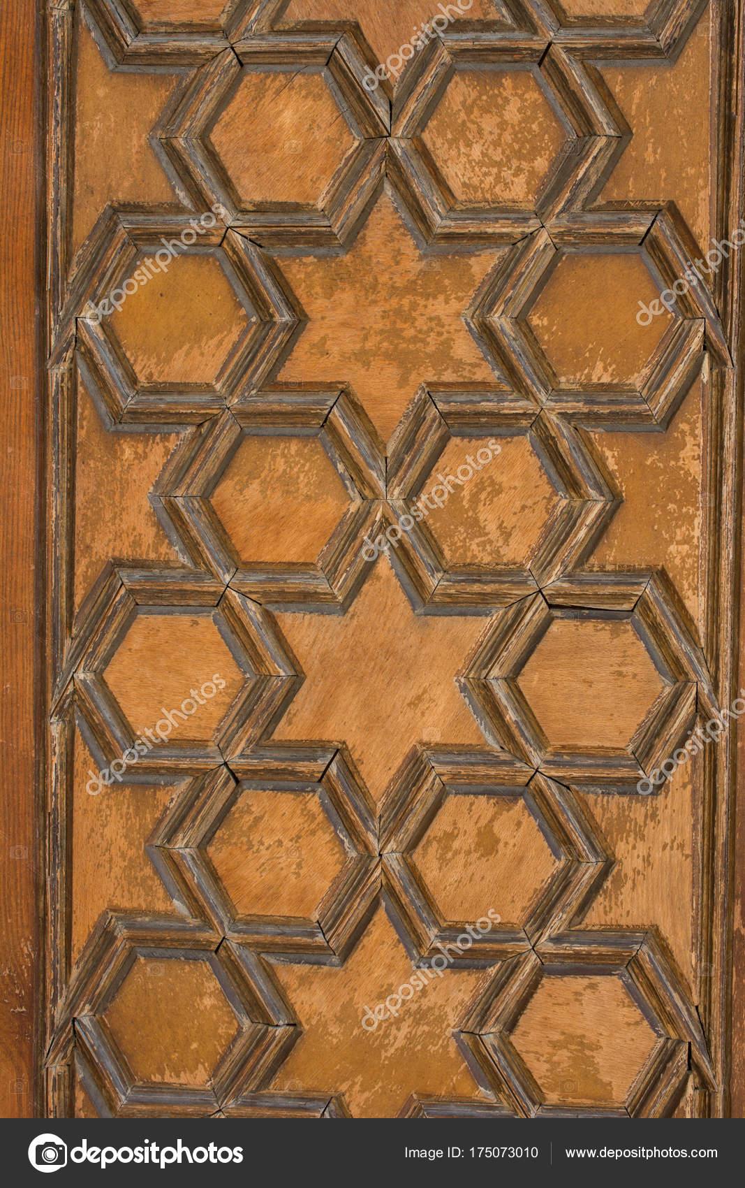 Osmanische Kunst Mit Geometrischen Mustern Auf Holz Stockfoto