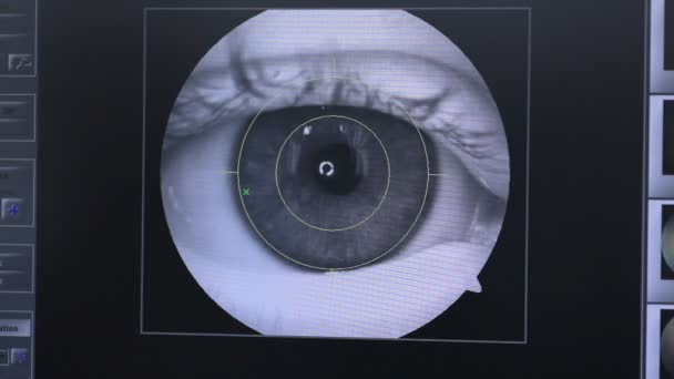 Retina security scanning  Eye, cornea checking for access to restricted  area