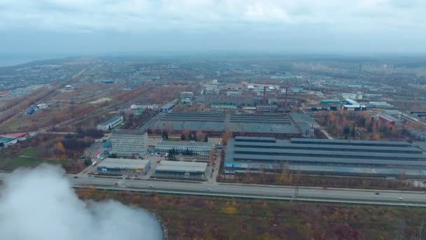 Letecký pohled na velkého průmyslového komplexu, obrovské skladu