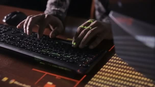 Hackers hands typing codes on the keyboard  Hacks program code, software  code