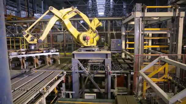 Industrial robot  Robotic arm assembling products on a modern plant