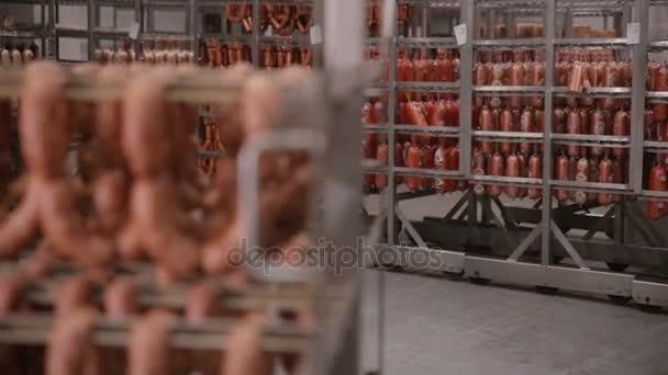 Párky v továrně chladícím zařízením. Krása cihel splňují ptoducts ve skladu, velké jídlo