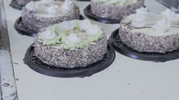 Pastry Chef Decorate Cakes with chocolate, cream and sugar on a cake production factory.