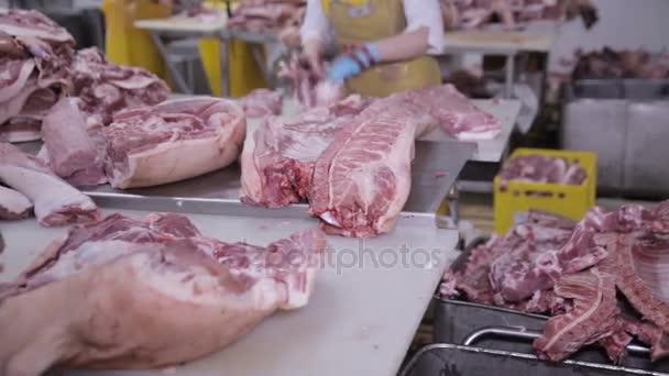 Potravinářský průmysl, zpracování masa. Dělení vepřového masa v továrně maso řezníků.