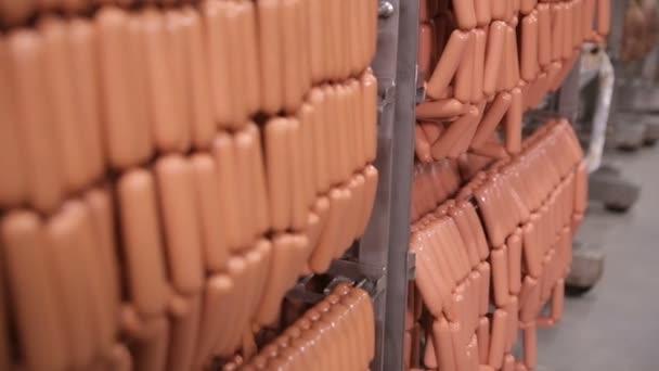 Skladování potravin, sklad. Masné výrobky, klobásy zavěšené na regály ve skladu masa, mrazák.