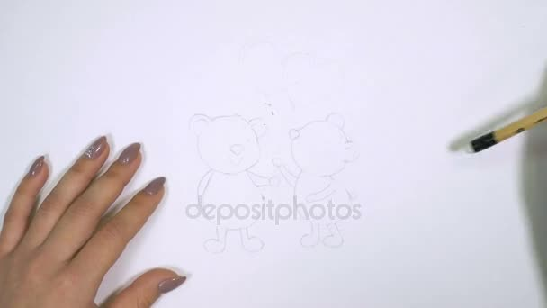 Valentines day. Beautiful, cute, lovely teddy bears in love. Holding hearts. Real drawing.