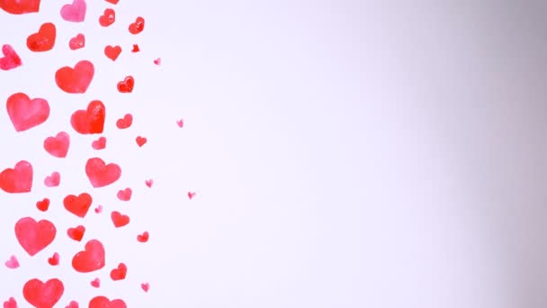Heart background drawn by watercolors on white background. Valentines day concept.