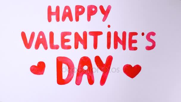 Krásy Happy Valentines den Text na bílém pozadí
