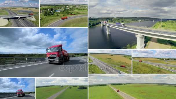 Doprava na pozadí. Velké dodávky nákladních automobilů na silnici. Vícenásobné montáže