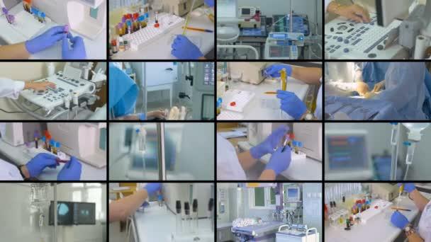 Laboratoře, chirurgie, zdravotnické zařízení koláž. Koncepce přípravek