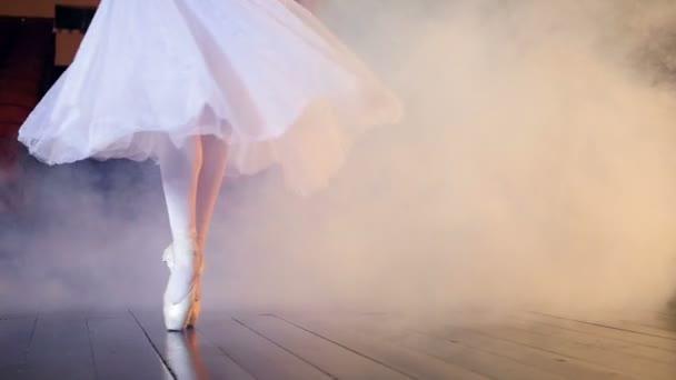 Unerkannte Ballerina, die sich im Nebel umdreht. Nahaufnahme. Dollly. hd.