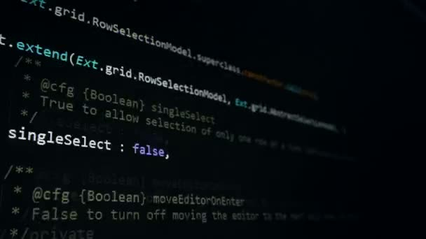Concetto di sicurezza di Cyber. Codice hacker sullo schermo di computer, 4K