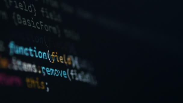 Concetto di script del calcolatore. Codice di programmazione per sviluppatore software.