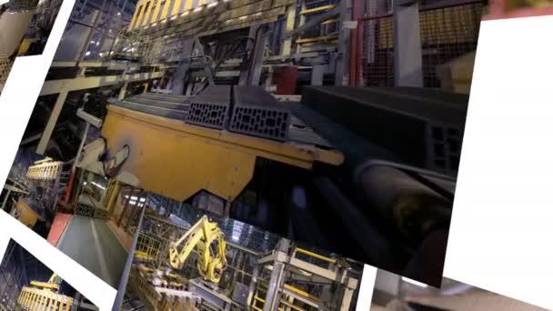 Fertigungsroboter arbeiten bei schweren industriellen Produktionsanlage. 4k.