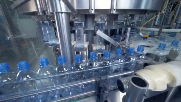 Plastikflaschen vom Band zur Tankstelle.
