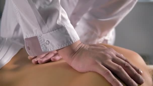 A Manual Medical Massage On A Female Back Stock Video