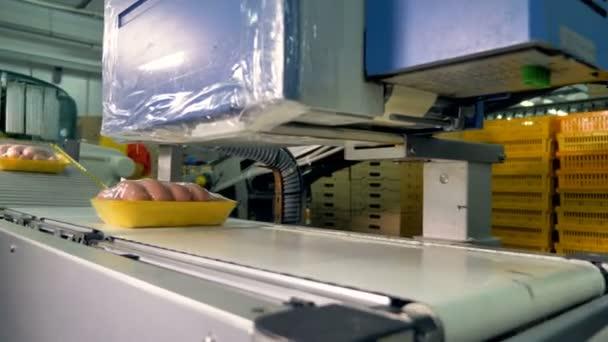 Balené párky na zásobníky předat automatizace, označení