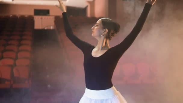 Eine Ballerina sieht Ballett Performer, die leeren Plätze und Tänze