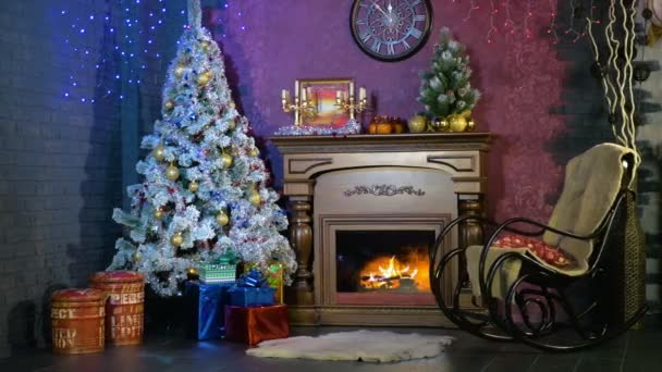 Amazing An Empty Rocking Chair Beside A Christmas Fireplace New Year Background Inzonedesignstudio Interior Chair Design Inzonedesignstudiocom