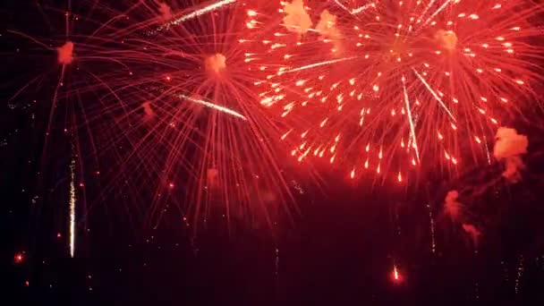 Colorful fireworks at holiday celebration. 4K.