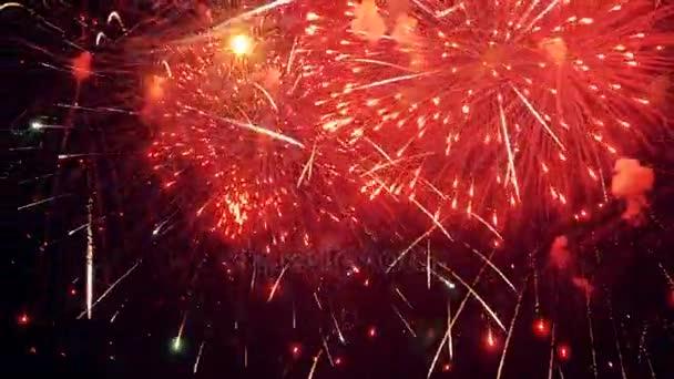 Mehrere Feuerwerke. Weihnachtsfeier Feuerwerk uhd 4k