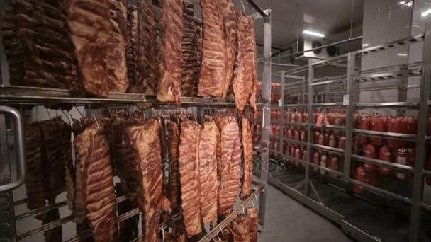 Klobásy, Grilovaná žebírka, masných výrobků při skladování nosiče v továrně na výrobu potravin. Široký záběr.