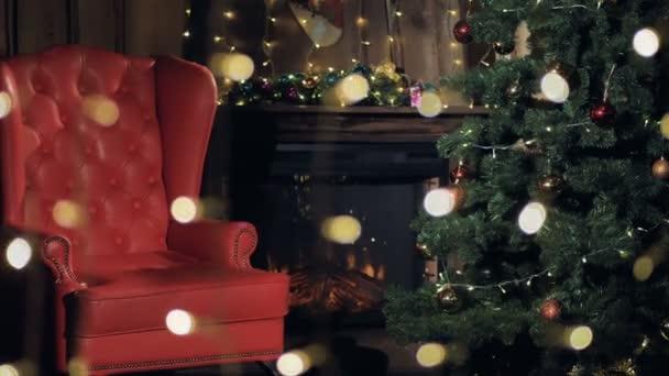 Camino Di Babbo Natale.Camino Interno Di Natale Babbo Natale Sedia Vicino All Albero Di Natale 4k