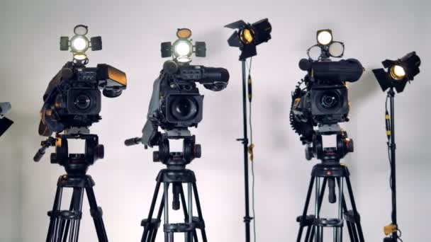 A row of different video equipment.