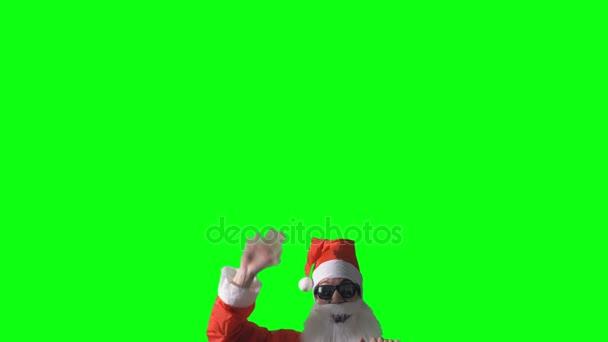Santa Claus vstoupí v šedém pozadí střílel ze spodu a vlny