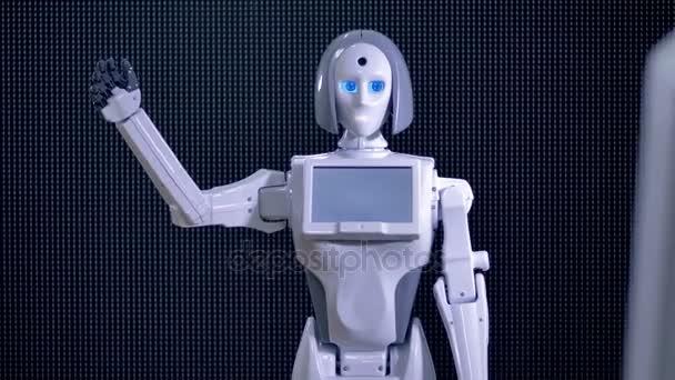 Bionická robot pozdravit, přivítat její rukou.