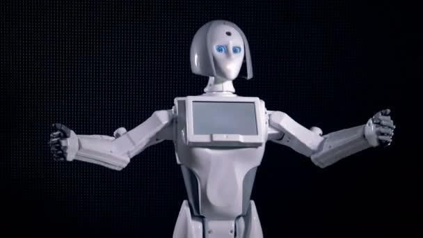 Rychlý pohyb bílého robota gestikuloval a mluví.