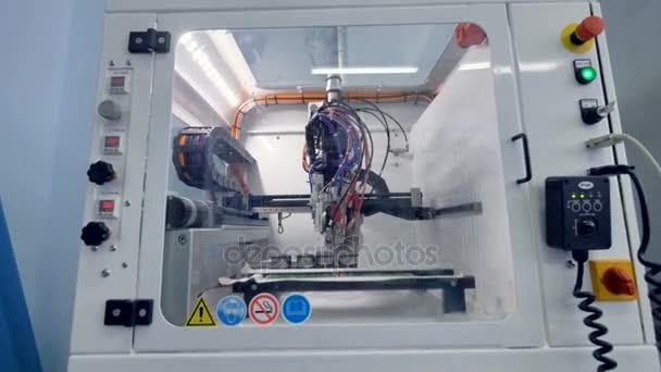Modern high-tech industrial equipment manufacturing computer components. 4K.