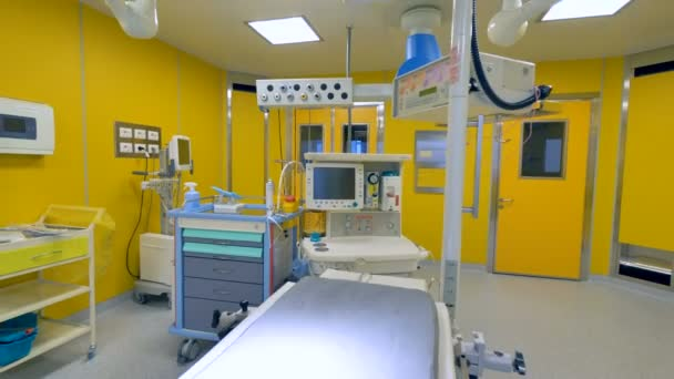 Close up of an empty modern hospital room converts into its wide angle view. 4K.