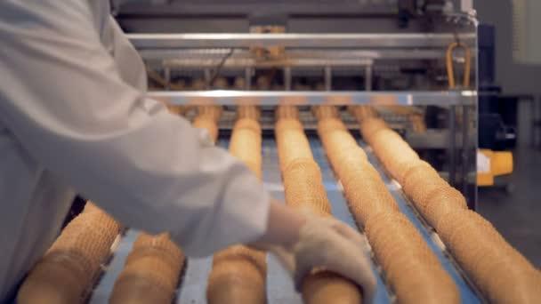 Pracovník kontroly oplatka kužely výrobního procesu