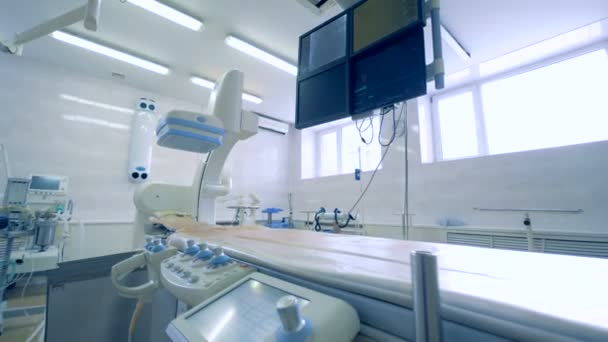 Empty surgery room with different special medical equipment. 4K