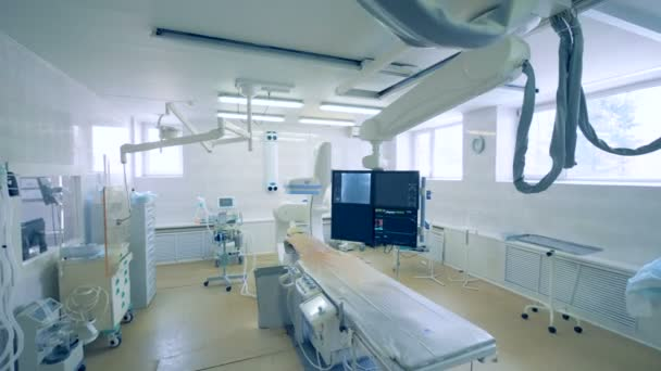 View of a surgery room with special medical equipment. 4K.