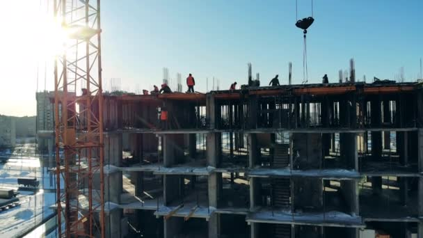Unfinished city building under construction. Construction industry, monolithic frame technology.