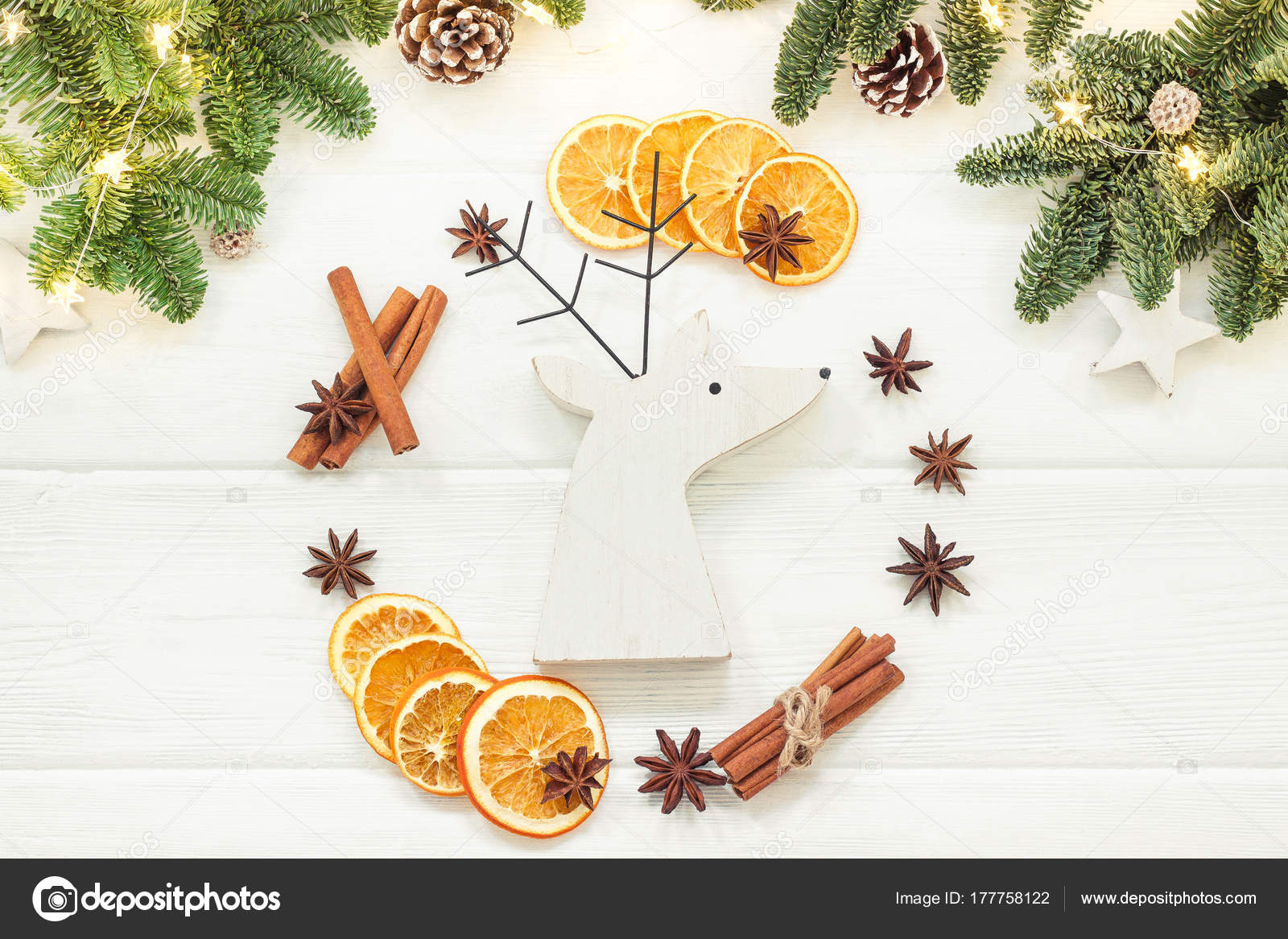 Christmas composition on a white background of Christmas decorations ...