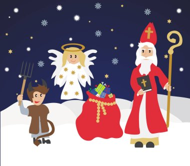 Cute St. Nicholas with devil and angel,Christmas invitation, card.