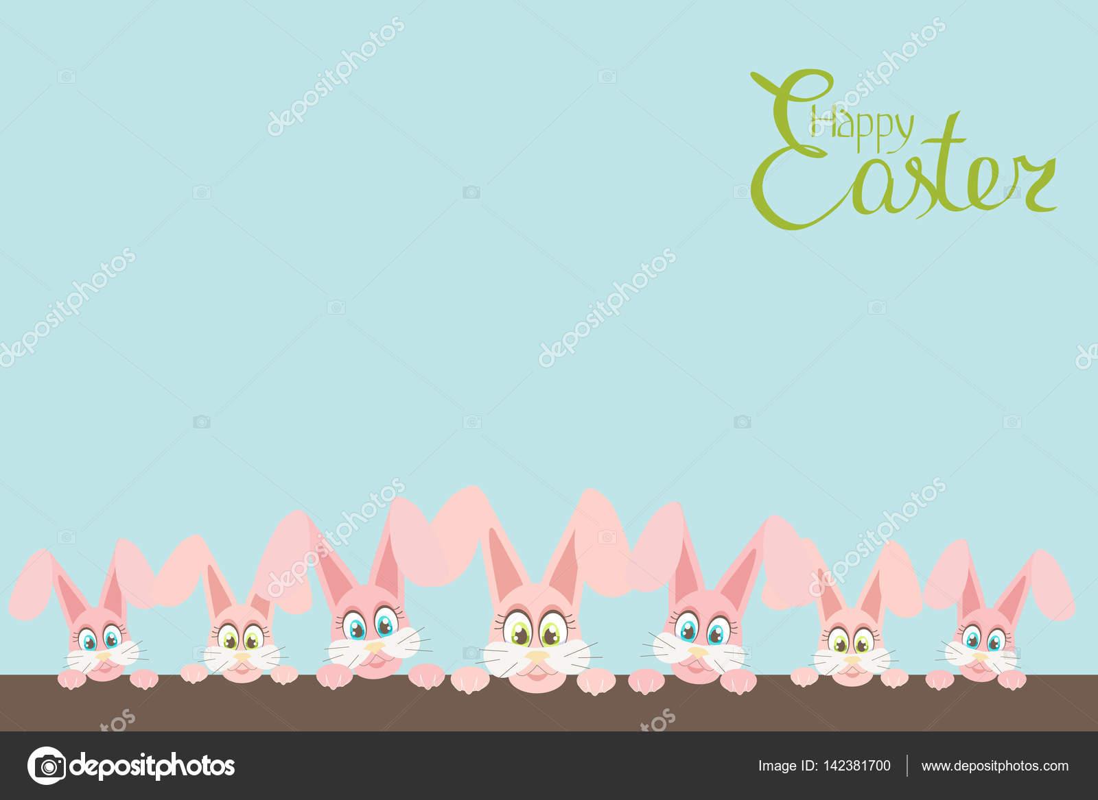 stora gratulationskort Gratulationskort med rolig rosa påsk kaniner med stora ögon  stora gratulationskort