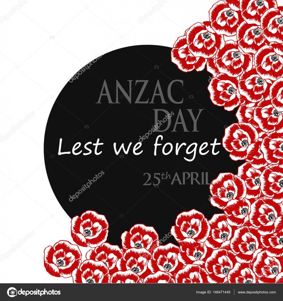 Anzac Australia New Zealand Army Corps Day Card Stock Vector
