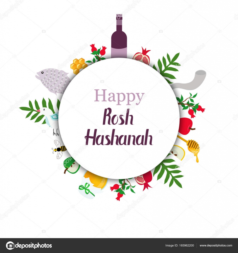 Greeting Card For Jewish New Year With Traditional Elements Of