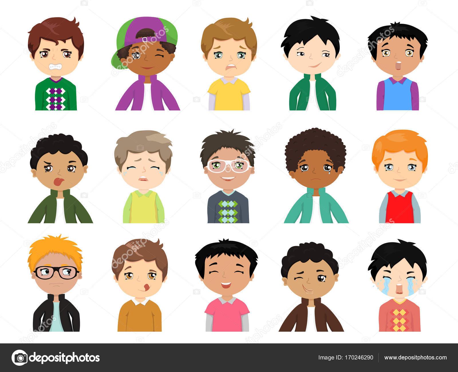 Para Niños De Dibujos Animados Caras Diferentes: Conjunto De Muchachos Multiétnicos