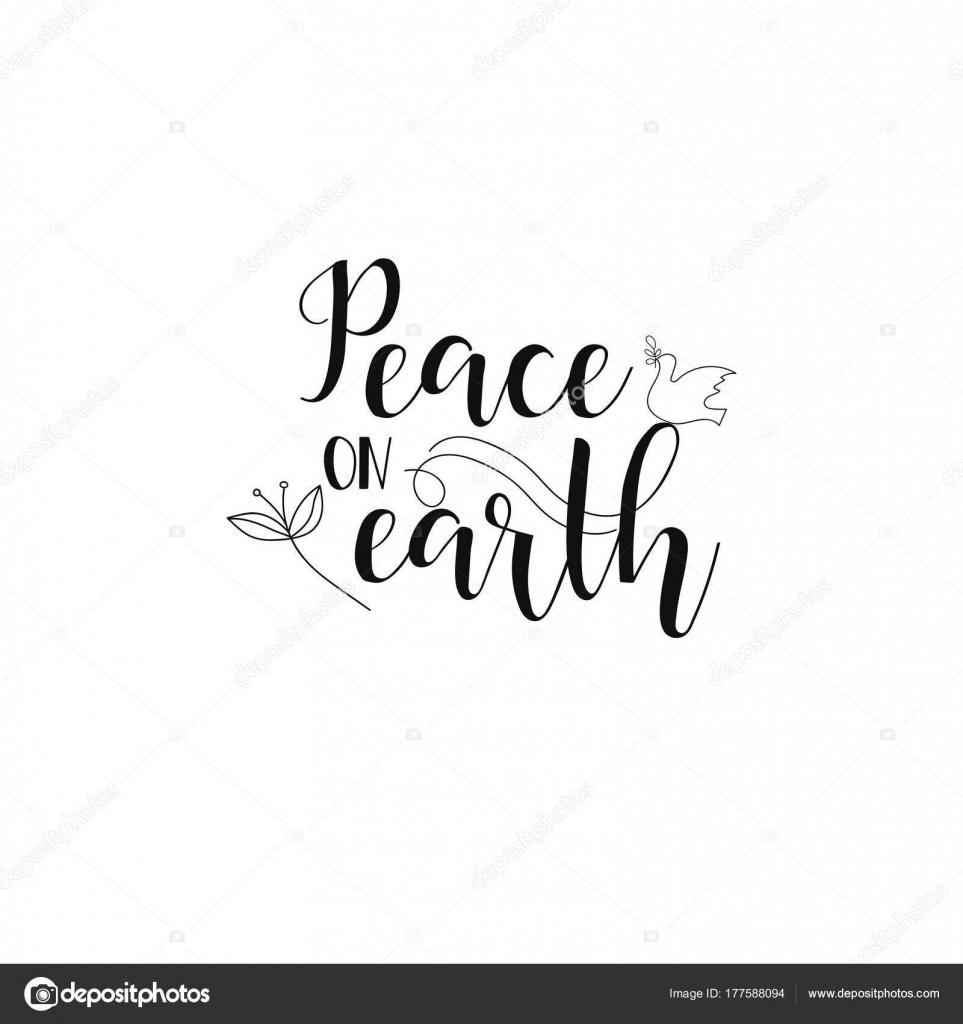 Frieden Auf Erden Handgeschriebene Kalligraphie Weihnachten Worte ...