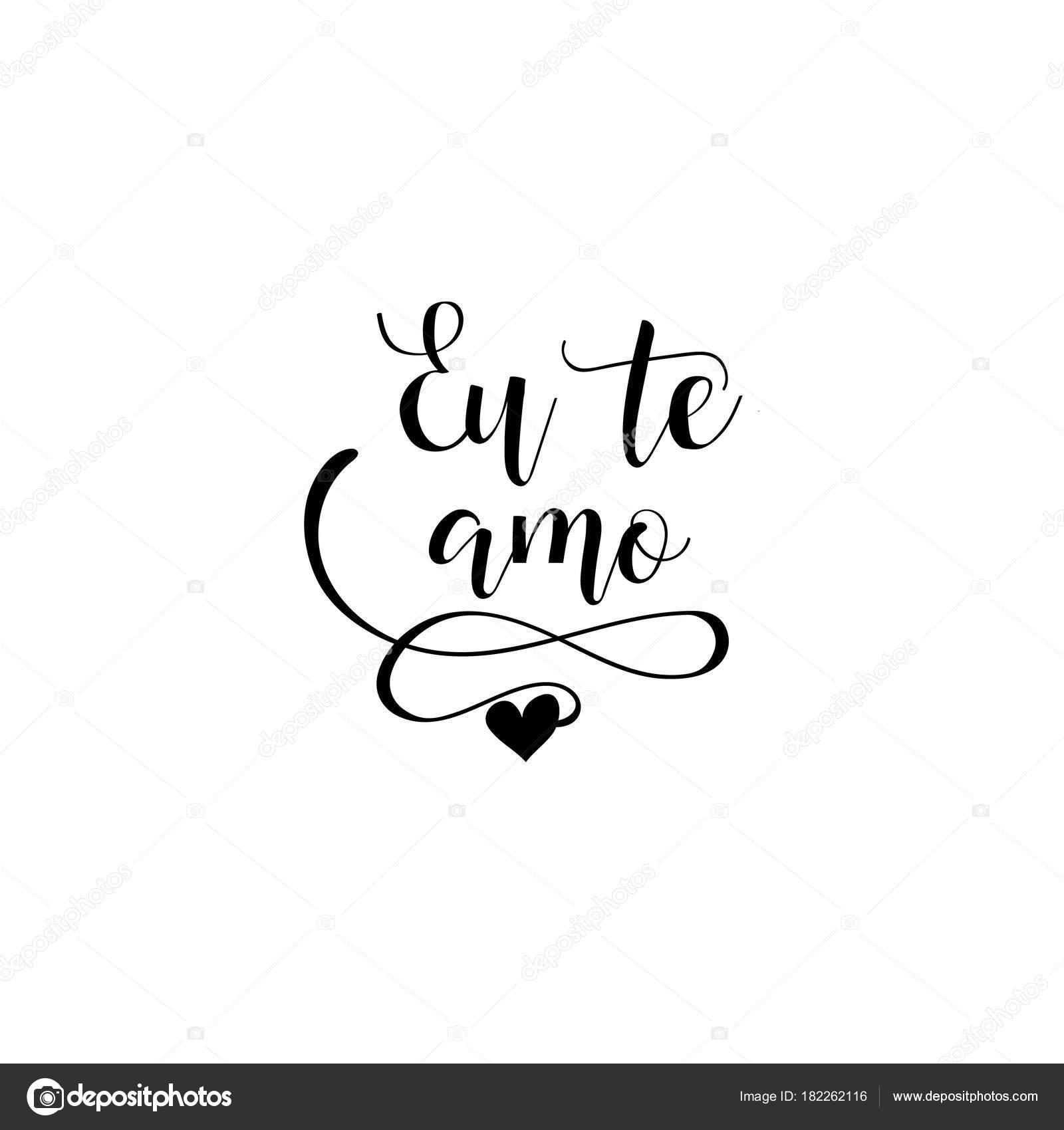 Frase De Caligrafia Manuscrita Em Português Eu Te Amo Ilustração Em