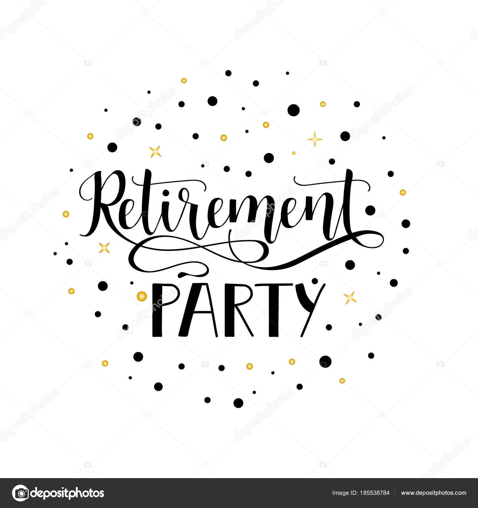 Top Retirement party. lettering. Hand drawn design. — Stock Vector  GC73