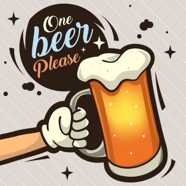 One Beer Please Hand Drawn Artistic Cartoon Illustration  For Ad